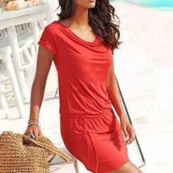Rebecca - Plain Short-Sleeve Tie-waist Dress
