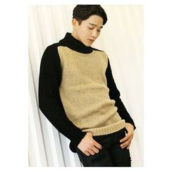 HOTBOOM - High-Neck Color-Block Sweater