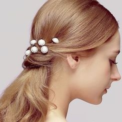 Puru Lia - Rhinestone Faux Leather Hair Pin