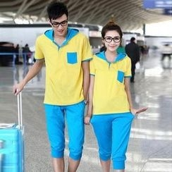 Lovebirds - Set: Couple Color-Block T-Shirt + Cropped Pants