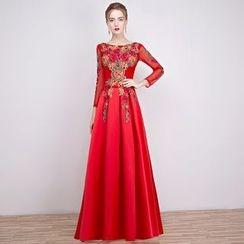 Loree - Embellished 3/4-Sleeve Evening Dress