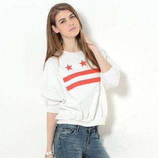 YesStyle Z - Dolman Sleeve Print Pullover