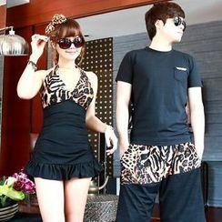 Tamtam Beach - Leopard Print Ruffled Tankini / Shorts
