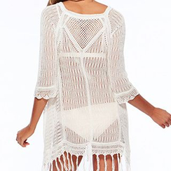 Sunset Hours - Fringe Hem Knit Cover-Up