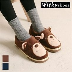 Wifky - Faux-Fur Bear-Face Slip-Ons