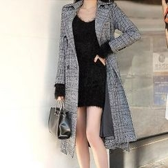 Yilda - Tie-Waist Plaid Coatdress