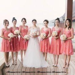 idresses - Embellished Lace Short Prom Dress