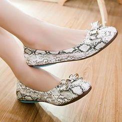 Sidewalk - 蛇纹印花蝴蝶结平跟鞋