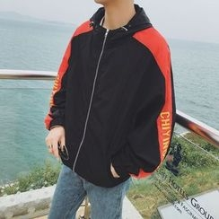 Breeson - Hooded Lettering Zip Jacket