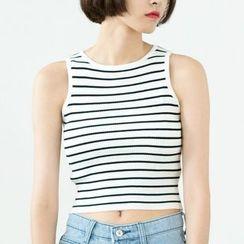 Sens Collection - Knit Cropped Stripe Tank Top