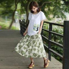 Amella - Printed Pleated Midi Skirt