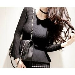 Marlangrouge - Rib-Knit Peplum Sweater