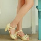 Angel Love - Bow-Accent Perforated Kitten-Heel Sandals