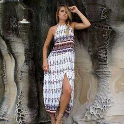 Hotprint - Patterned Slit Maxi Dress