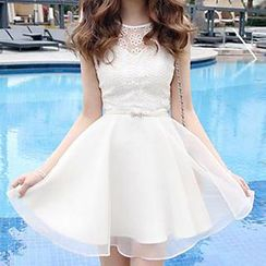 Only Eve - Embroidered Chiffon Dress