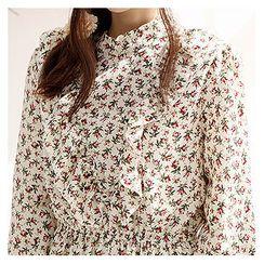 Sechuna - Frill-Trim Floral Pattern Dress