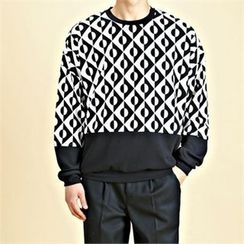 THE COVER - Color-Block Patterned Sweatshirt