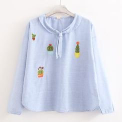 ninna nanna - Tie-Neck Cactus Embroidery Striped Blouse