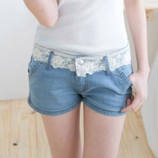 CatWorld - Lace-Waistline Denim Shorts