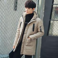 ZONZO - Plain Hooded Long Padded Coat