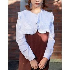 FROMBEGINNING - Embroidered Wide-Collar Blouse