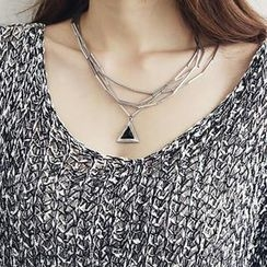 NANING9 - Triangle-Charm Layered Necklace