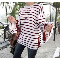 Miamasvin - Slit-Detail Striped Loose-Fit Knit Top