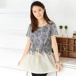 59 Seconds - Short-Sleeve Floral Lace Hem Dress