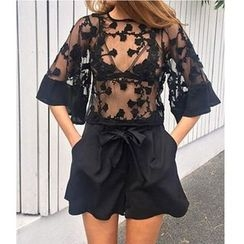 Charlotte - Elbow-Sleeve Lace Top