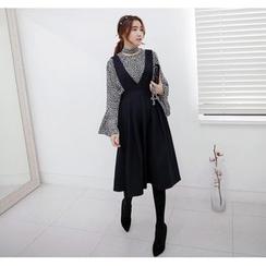 Miamasvin - Deep V-Neck Pleated Jumper Skirt