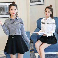 Sienne - Striped Applique Shirt