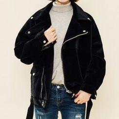 Heynew - Plain Fleece Biker Jacket
