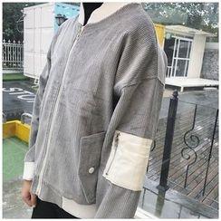 Whitney's Shop - Corduroy Panel Zip Jacket