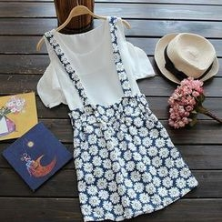 Flower Idea - Set: Cutout-Sleeve Top + Floral Suspender Skirt