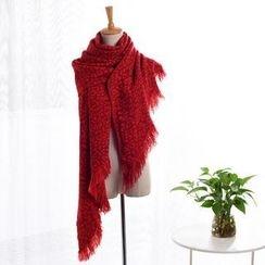羚羊早安 - 豹紋針織圍巾