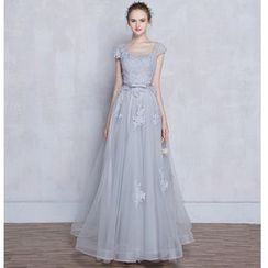 MSSBridal - Lace Panel Evening Gown