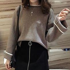 Little V - Contrast Trim Dip Back Sweater
