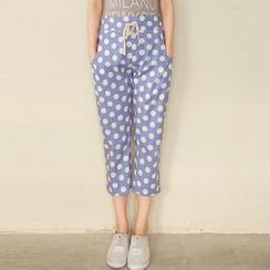 Tokyo Fashion - Drawstring-Waist Polka Dot Harem Pants