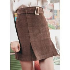 Chlo.D.Manon - Belted Mini Corduroy Skirt