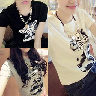 QZ Lady - Zebra Print Short-Sleeved T-Shirt