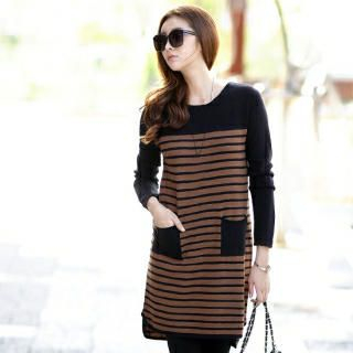 Jcstyle - Round-Neck Striped Knit Dress