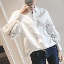 Lavogo - Lace Panel Balloon-Sleeve Shirt