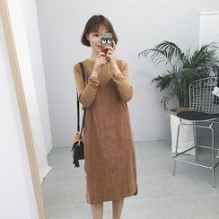 Kojasmine - Set: Long-Sleeve Plain T-Shirt + Jumper Dress