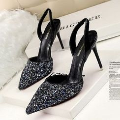 Mancienne - Glitter Pointy High-Heel Sandals