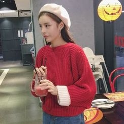 Zzang Girls - Color Panel Chunky Sweater
