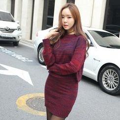 Envy Look - Set: Round-Neck Melange Knit Top + Knit Skirt