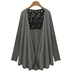 Eloqueen - Long-Sleeve Lace-Panel Cardigan