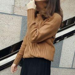 Little V - Plain Cable Knit Turtleneck Sweater
