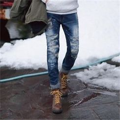 Superstar.i - Distressed Paint-Splatter Straight-Cut Jeans