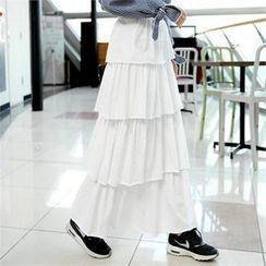 clicknme - Band-Waist Long Tiered Skirt